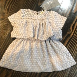 Nueces baby girl dress blue embroidered flower 24m